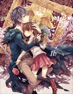 Mary, Ib and Garry. Rpg Maker, Maker Game, Awesome Anime, Anime Love, Anime Guys, Manga Art, Manga Anime, Ib And Garry, Ib Game