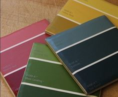 Paint Chip Coasters: Wow your guests with these awesome paint chip coasters.  Source: Crafty CPA