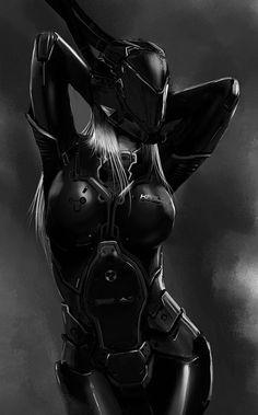 Cyberpunk art Cyborg black and white Киберпанк арт Киборг Черно-белый арт