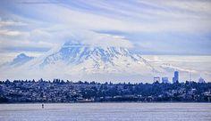Mt Rainier Towers Over Seattle Photograph