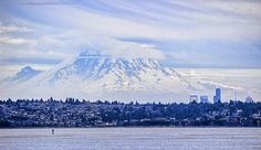 Mt Rainier Towers Over Seattle Photograph
