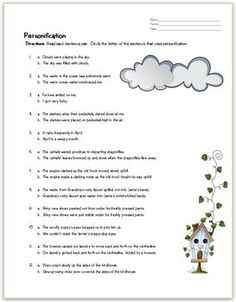 Figurative Language - Personification Worksheet | Worksheets ...