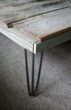 modern industrial wood coffee table from reclaimed old by birdloft