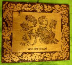 ANTIQUE vintage PYROGRAPHY burnt wood lady husband/wife portrait Flemish Art #Americana