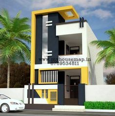 best designed narrow apartment buildings - Google Search House Front Wall Design, Brick House Designs, House Floor Design, House Outer Design, Narrow House Designs, Modern Small House Design, 2 Storey House Design, House Outside Design, Modern Exterior House Designs