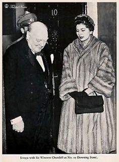 Prime Minister Winston Churchill, H.M. Shah Mohamed Reza Pahlavi (behind Churchill) & Empress Soraya visiting London in 1955.