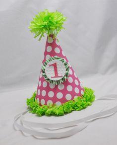 1st Birthday Party Hat Girl by CardsandMoorebyTerri on Etsy, $12.00