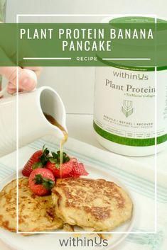 #pancake #plantprotein #protein #collagen #breakfast Protein Pancakes, Banana Pancakes, Banana And Egg, Protein Power, Plant Based Protein, Almond Flour, Collagen, Food Processor Recipes, Breakfast