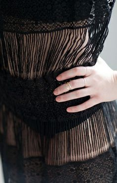 Black crochet dress with shirred waistband; textiles for fashion; close up fashion detail // Callahan