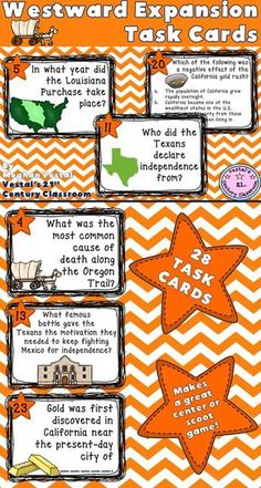 Westward Expansion Task Cards are a great resource for reviewing concepts about westward expansion. Westward Expansion Task Cards includes 28 task cards, 2 student response sheets, and an answer key. Questions are open-ended, multiple-choice, and fill in the blank. Makes a great social studies center, scoot activity, or review game! Topics covered include the Louisiana Purchase, the Lewis and Clark expedition, the introduction of new states, the Oregon Trail, and the California gold rush.