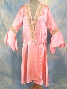 1920's Pink silk & ecru lace drop-waist peignoir - the stuff that vintage lingerie fantasies are made of!