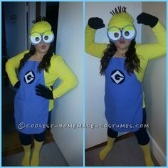 Cutest and Easiest Homemade Minion Costume for All Ages - Cheap Halloween Costumes Homemade Minion Costumes, Homemade Halloween, Diy Costumes, Costume Ideas, Carnival Costumes, Halloween Costumes For Work, Halloween Costume Contest, Halloween Kids, Halloween Stuff