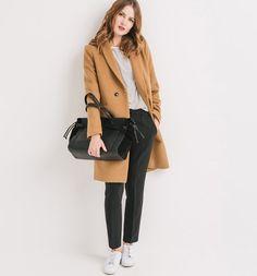Wełniany płaszcz damski ciemny beż - Promod