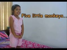 English action song for kids - Five little monkeys...