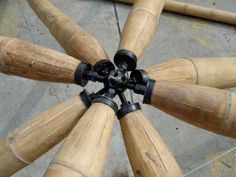 Bamboo Aircraft Hangar A multifaceted steel union sphere like the 'bucky ball'… Bamboo Structure, Timber Structure, Bamboo Art, Bamboo Crafts, Bamboo Garden Fences, Bamboo House Design, Bamboo Building, Bamboo Construction, 3d Printing Diy
