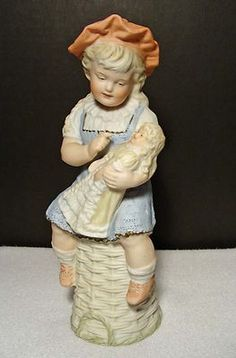 BEAUTIFUL ANTIQUE GERMAN GEBRUDER HEUBACH BISQUE PIANO BABY GIRL WITH DOLL*WOW!