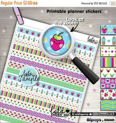 60%OFF - Washi Tape, Printable Planner Stickers, Strawberry Stickers, Erin Condren, Kawaii Stickers, Life Planner, Planner Accessories, Cute