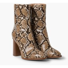 MANGO Snake-Finish Ankle Boots (5.100 RUB) ❤ liked on Polyvore featuring shoes, boots, ankle booties, snake print booties, short boots, python boots, side zipper boots and snake skin booties