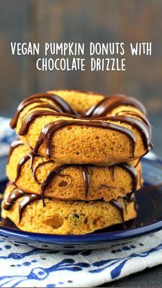 Fall Dessert Recipes, Vegan Breakfast Recipes, Vegan Desserts, Just Desserts, Dairy Free Recipes, Vegan Recipes, Delicious Recipes, Gluten Free, Baked Donuts