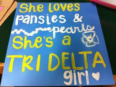she loves violets and pearls, she's a tri sigma girl!