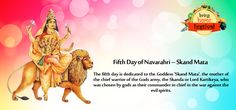 Fifth Day of #Navarathri  – #SkandaMaatha    The fifth day is devoted to the Goddess 'Skanda Maatha', the mother of the central warrior of the Gods armed force, the Skanda.