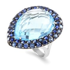 Pre-owned French Collection 18K White Gold Diamond & Blue Gemstone... ($1,400) ❤ liked on Polyvore featuring jewelry, rings, blue diamond rings, white gold band ring, diamond rings, pear cut diamond ring and white gold diamond rings