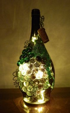 Tuscan Grapes Lighted Wine Bottle by BoMoLuTra on Etsy