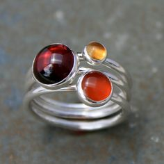 Stacking Rings Sterling Silver Gemstone Stackable by KiraFerrer, $68.00