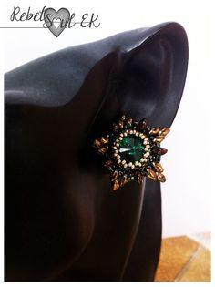 RebelSoulEK earrings jewelry stars golden green swarovsky shiny beadwork beadweaving