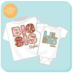 Set of Two Big Sister and Lil Little Brother by ThingsVerySpecial, $28.99