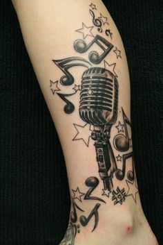 Music Tattoo Design on Leg