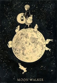 MOON WALKER - shino's illustration works ~ I'm pretty sure this is how my Daughter dreams in bunny style Art And Illustration, Plakat Design, Alphonse Mucha, Moon Art, Stars And Moon, Artsy Fartsy, Design Art, Motif Design, Drawings