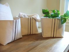 set of three grainsack baskets  black stripe  by jennilyons81, $114.97
