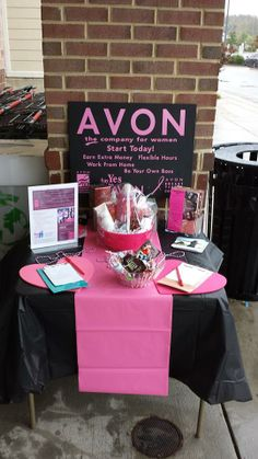 Table setup to bring awareness to Breast Cancer and what Avon's foundation does to support women!