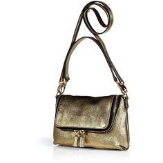 ANYA HINDMARCH Patina Gold Maxi Zip Crossbody Bag