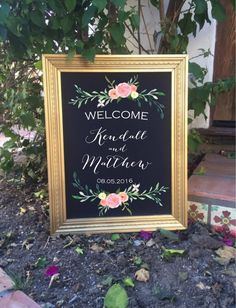 Welcome wedding sign framed chalk art with by FromKellyWithLove