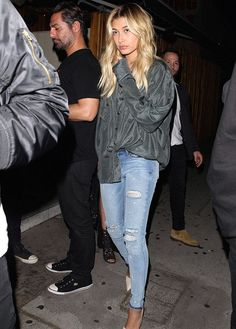 Hailey's jeans are by RtA, the Sonia Pull-on, and come complete with heavy distressing. We can't get enough of the light wash and skinny silhouette