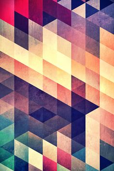"""T"" print by spires on Redbubble. Get your geometric on with these mod shapes in a stunning retro color palette."