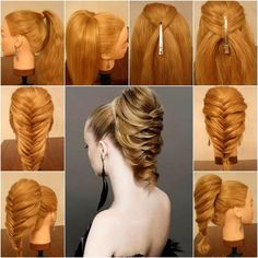 Step-by-step casual/loose fishtail ponytail braid