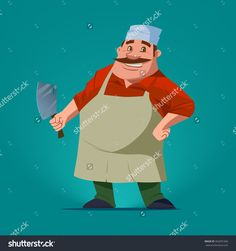 Funny Butcher, Cartoon Character, Vector Illustration, Isolated Background - 362681666 : Shutterstock
