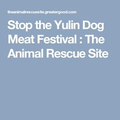 Stop the Yulin Dog Meat Festival : The Animal Rescue Site