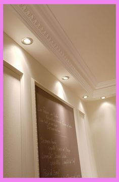 Molding for indirect lighting. Collection of high quality crown molding designed for indirect lighting, it is perfect for modern and contemporary interiors House Ceiling Design, Ceiling Design Living Room, False Ceiling Living Room, Ceiling Light Design, Gypsum Ceiling Design, Living Room Designs, Living Rooms, Ceiling Coving, Molding Ceiling