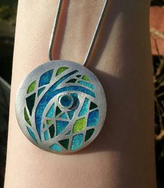 Transparent champleve enamel on silver. Pendant jewellery. No. 3. Charlotte Smith