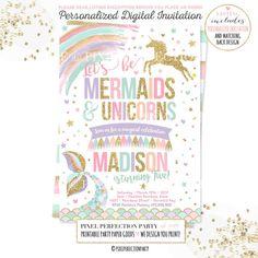 Mermaid And Unicorn Birthday Invitation Magical Unicorn and