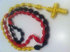 Yellow, Black, & Red custom rosary.