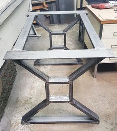 "Modern, Dining Table ""X"" Legs, Model #006, with 2 Braces, Solid Table from 3"" x 1"" Tubing, 1/4 x 5"" Mounting flat on top and 2 Cross Braces"