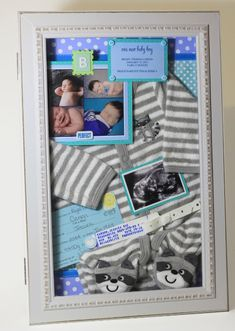 Baby's Keepsakes - shadow boxes from www.lovelystudio.... baby boy girl keepsake shadowbox newborn collage birth announcement photos