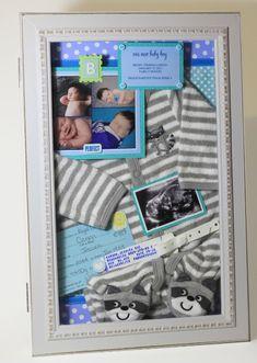 Baby's Keepsakes - shadow boxes from www.lovelystudio.... baby boy girl keepsake shadowbox newborn collage birth announcement photos