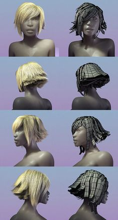 Real nice looking hair made with transparency maps and curved planes. Really nice effect with minimum render time: