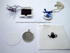 Lynn B 's finishing instructions for cross stitch : Cross stitch necklace tutorial